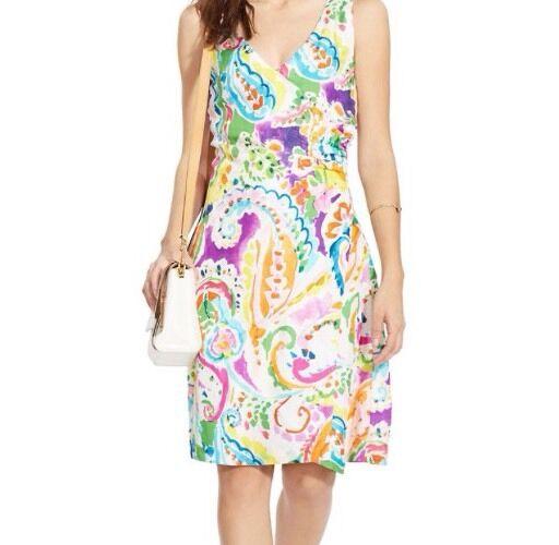 Ralph Lauren Lauren Lauren Bright Multi-color Paisley White Surplice Faux Wrap Dress Sz10  145 c812da