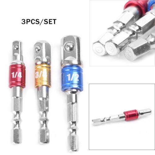 """3pcs Douille Embout Adaptateur Set Tige Hex à 1//4/"""" 3//8/"""" 1//2/"""" Impact Drill Bit Driver"""