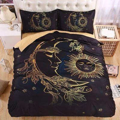Crescent Moon and Stars Duvet Cover Boho Mandala Bedding Set Quilt Cover Pillow
