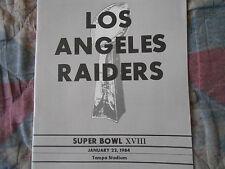 1984 LOS ANGELES RAIDERS SUPER BOWL MEDIA GUIDE LA 33 XVIII 1983 Oakland NFL AD