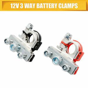 2X-Positif-Negatif-Batterie-Borne-Connecteurs-Pinces-Voiture-Van-Caravane-12V