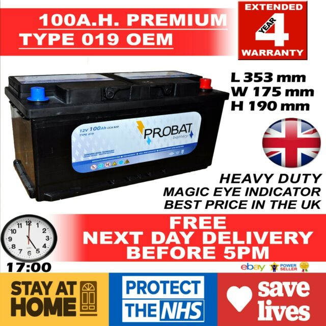 OEM Replacement Heavy Duty Car/Van Battery TYPE 017 / 019 12V 100AH NEXT DAY DEL