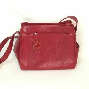 Red-Leather-Shoulder-Bag-Hand-Tooled-Panama-Crafted-Purse-Mid-Sized