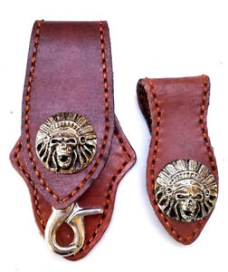 Biker-Skull-Indian-Trucker-Handmade-Leather-Brown-Stitch-Keychain-Key-Holder