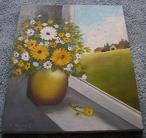 VINTAGE YELLOW WHITE DAISES FLOWERS VASE STILL LIFE HOUSE PASTURE OIL PAINTING