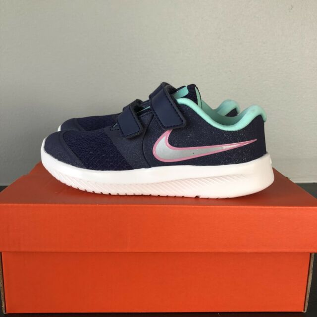 Girl's Nike Shoes Star Runner 2 (TDV) size 10C Dark Purple Green Gray Pink New