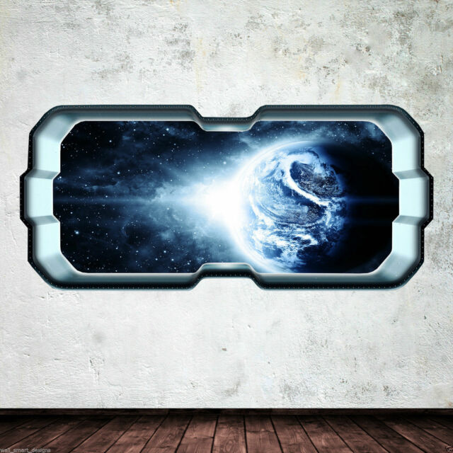 Space Ship Earth Window Stars Full Colour Wall Art Sticker Decal Boys Bedroom