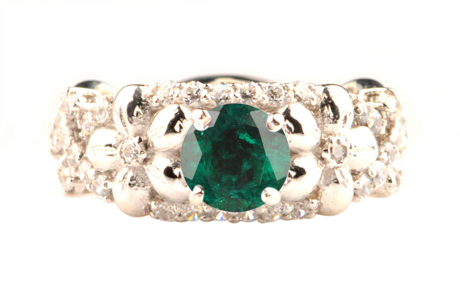 1.30Ct Natural Green Emerald EGL Certified Diamond Ring In 14KT White gold