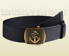 GUCCI blue Canvas 40-100 brass ANCHOR Slip LOGO buckle Belt NWT Authentic $330!
