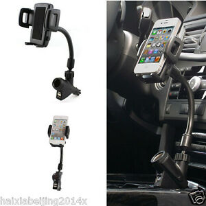 Dual Usb  Port Car Charger Cell Phone Mount Holder