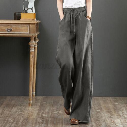Women Elastic Waist Retro Floral Printed Trousers Wide Leg Baggy Pants Plus Size