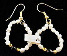 NEW PEARL Bead Loop Design FRENCH HOOK Pierced Stick Pole Earrings U6
