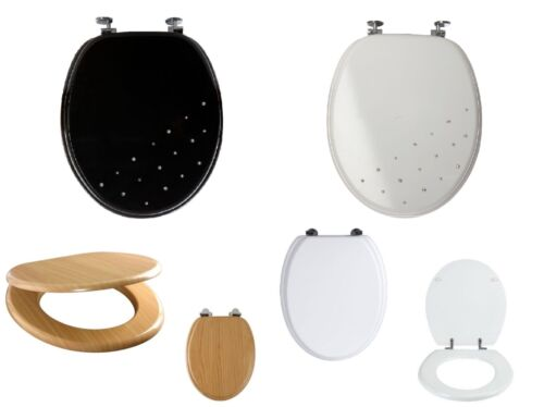 Universal Stylish Wooden MDF Luxury Designed Toilet Seat With Chrome Hinges New