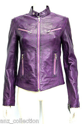 Joan Purple Ladies Womens Short Vintage Real Sheep Washed Waxed Leather Jacket