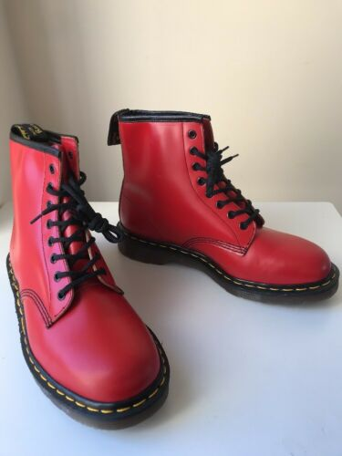 Dr. Martens 1460 Air Cushioned Cherry Red Leather Boots Sz UK9 Made In England