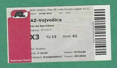 Frank Original Ticket Europa League 2016/17 Az Alkmaar - Vojvodina Novi Sad !!