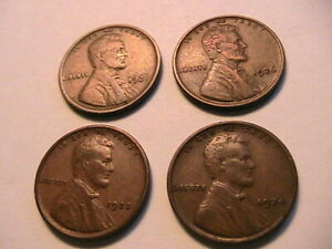 1921-23-24-26-P-US-4-Lincoln-Wheat-Cents-Brown-VF-Nice-Original-One-Penny-Coins