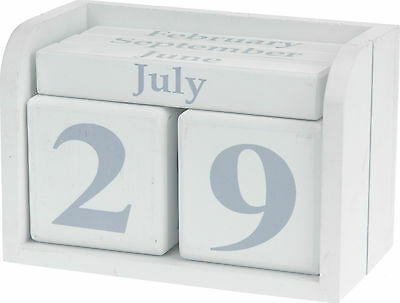 Wooden Shabby Chic Perpetual Desk Calendar Rustic Wood Desk Calendar Grey/White