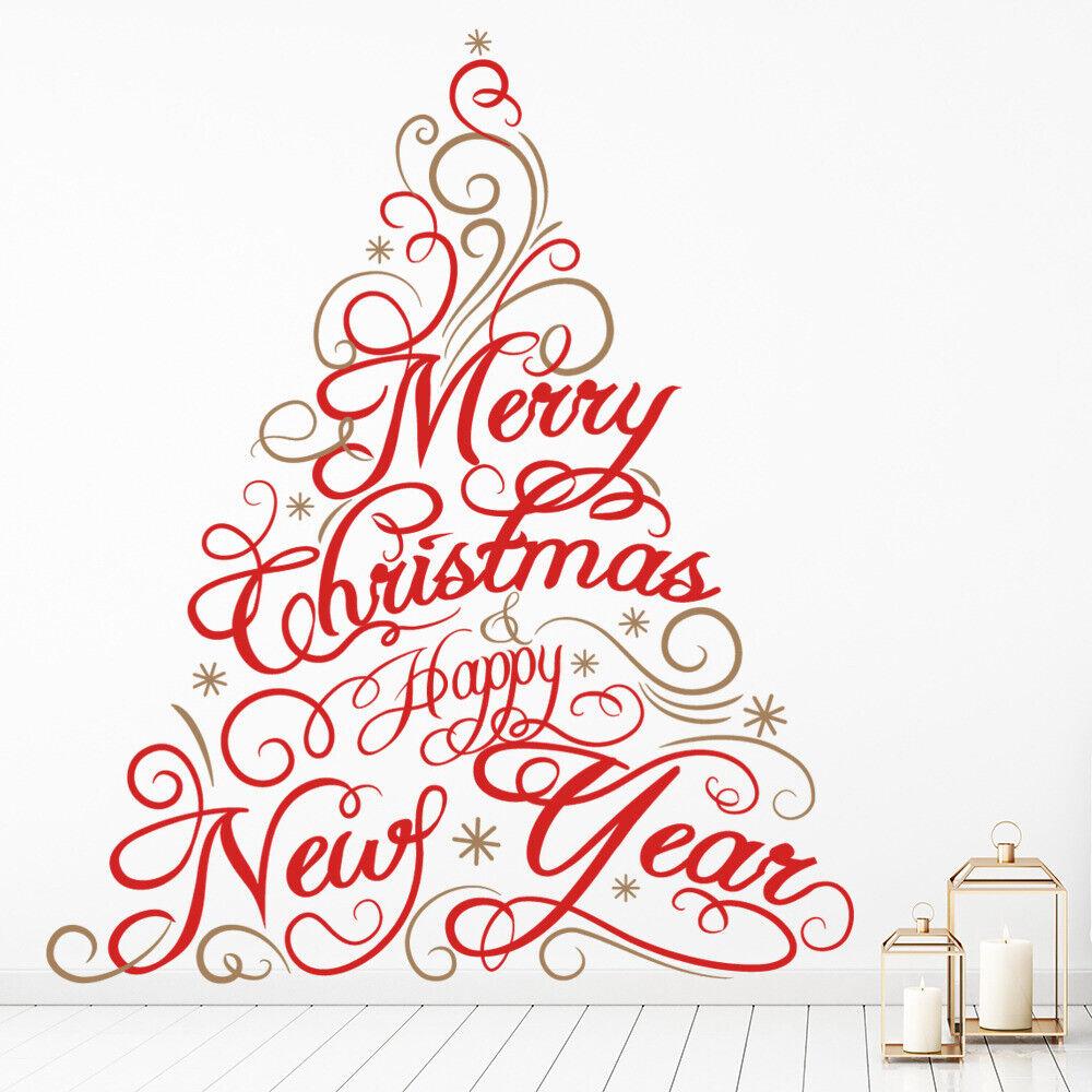 Fröhlicher Weihnachtsbaum Frohes neues Jahr Wandtattoo WS-45431