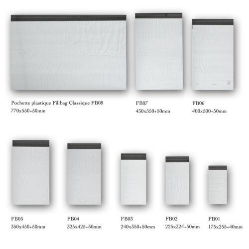 Lot de 1000 enveloppes plastiques blanches opaques 8 formats au choix