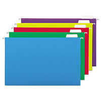 Universal Hanging File Folders 1/5 Tab 11 Point Legal Assorted Colors 25/box on sale