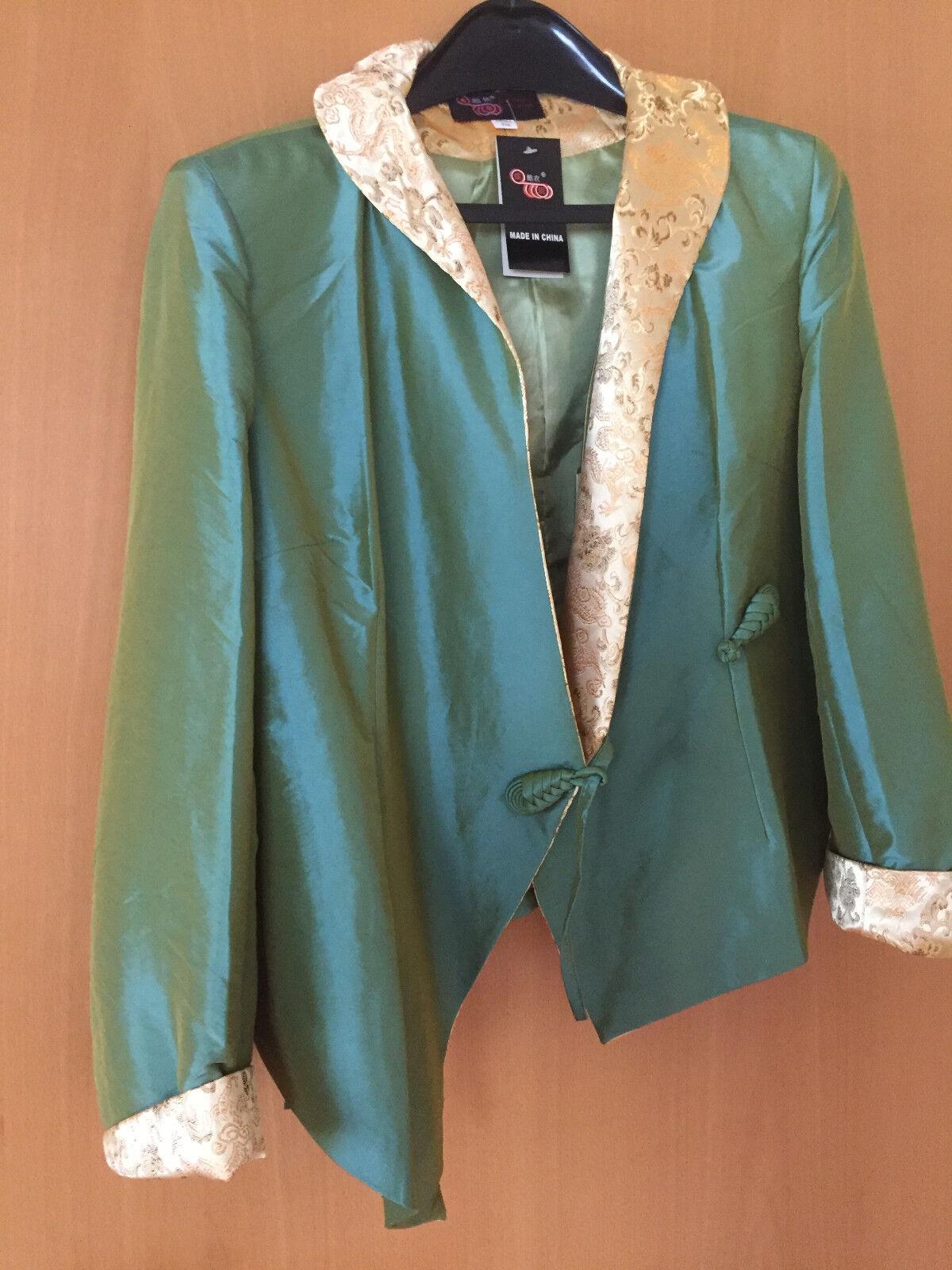 Chinesische Boutique Jacke Damen edel NEU grün schimmernd mit mit mit Goldkragen Gr.XXL f5c1f5