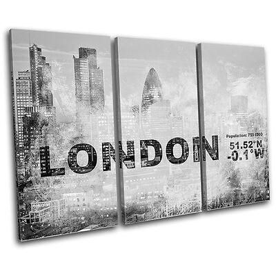 London England UK City Typography TREBLE CANVAS WALL ART Picture Print VA