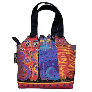 Laurel-Burch-FRIENDS-OF-FELINES-Bag-Canvas-Purse-Cat-Tote-Feline-Friends-Handbag