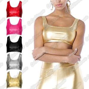 New-Ladies-Wetlook-Shiny-Metallic-Gymnastic-Dance-Party-Wear-Vest-Racer-Crop-Top