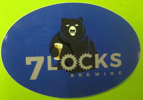 7 LOCKS BREWING COMPANY small oval Beer STICKER Label w// BEAR Rockville MARYLAND