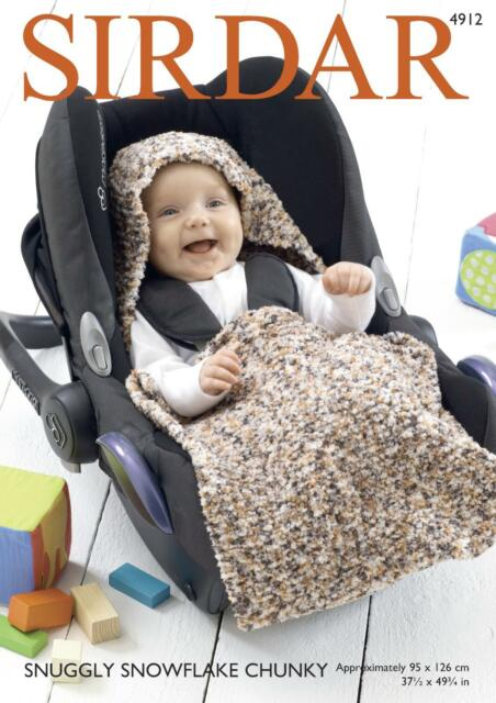 9756e01fe0113 Sirdar 4912 Knitting Pattern Baby Car Seat Blanket in Snuggly Snowflake  Chunky
