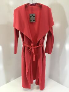 BOOHOO-WOMEN-039-S-KATIE-SHAWL-COLLAR-BELTED-DUSTER-CORAL-SMALL-MEDIUM-NWT