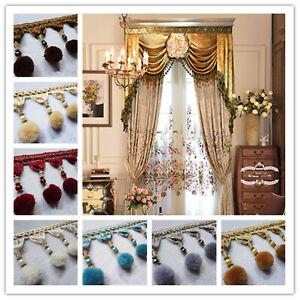 Curtain-1M-Trim-Plush-Ball-Beaded-Fringe-Costume-Upholstery-Crafts