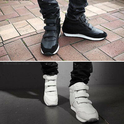 ByTheR Men`s  Faux Leather Solid Black White Sporty High Top Sneakers P000BJRR