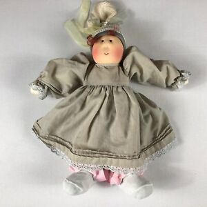 Little-Souls-Plush-Doll-VTG-1989-Knit-Hat-Ribbon-Dress-Girl-USA-Made-15-034-Stuffed