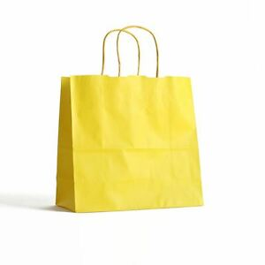 Details About 10 Yellow Paper Party Bags Twisted Handles 18x25 8cm Gift For Birthdays