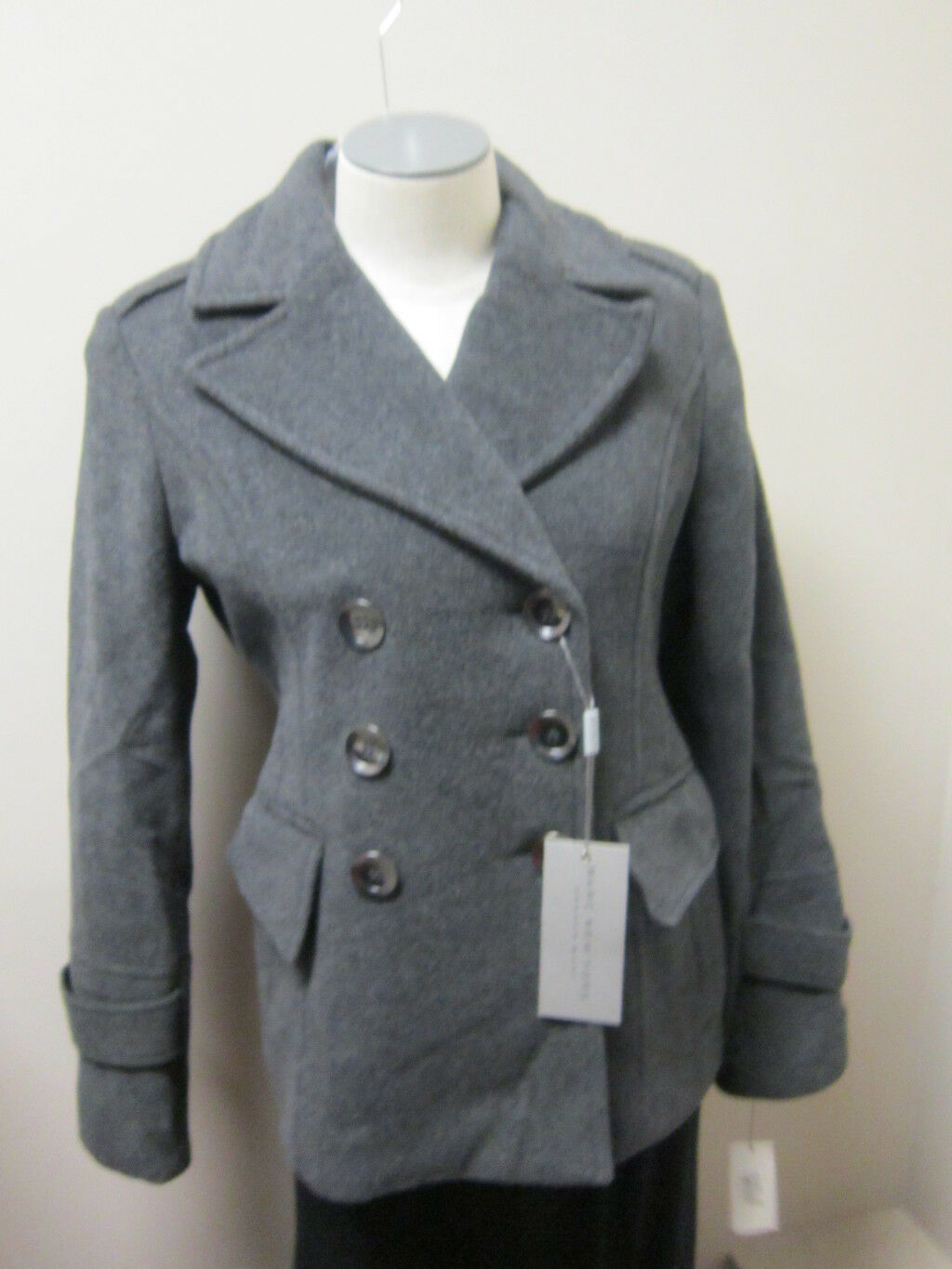 Andrew Marc Double Breasted Short Wool Peacoat Coat Charcoal NWT  340