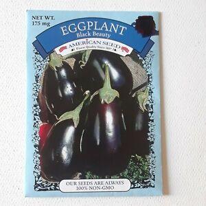 Eggplant Black Beauty Seed NonGmo Vegetable Aubergine PLUS 1 PACKET FREE
