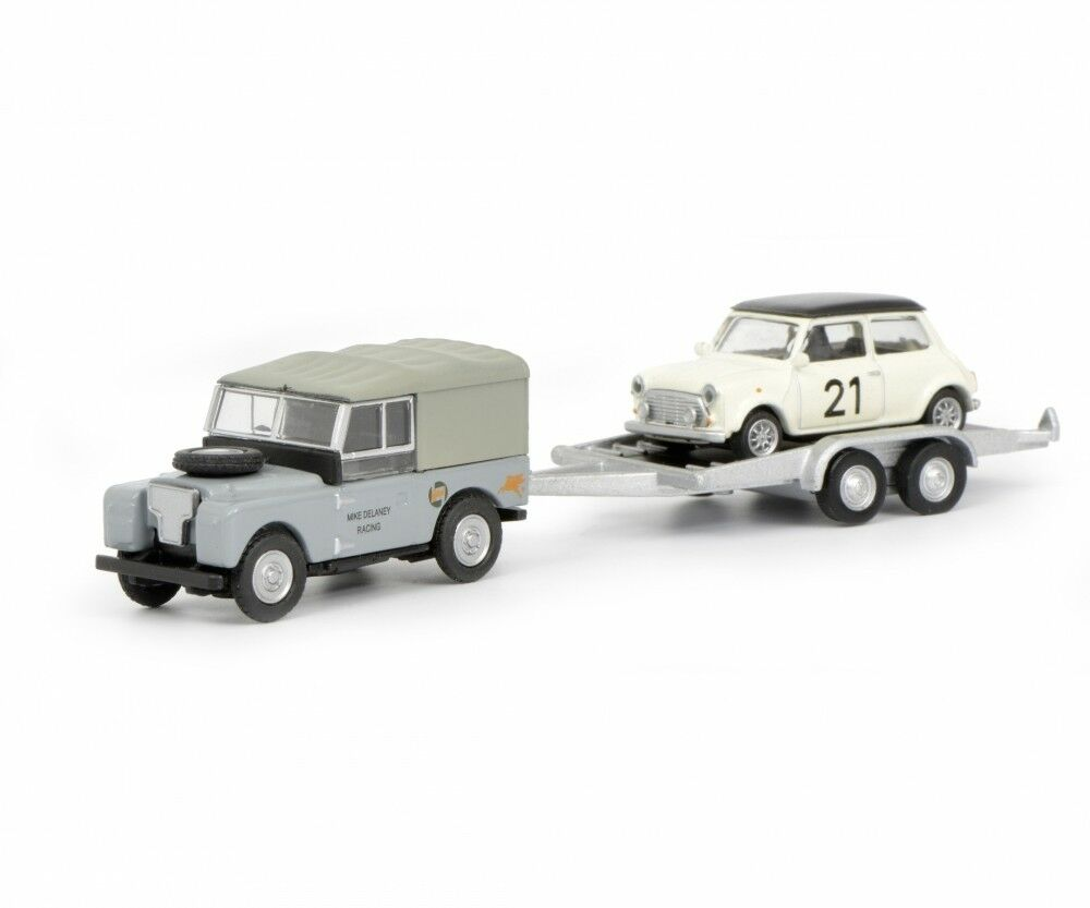 Land Rover 88 with Trailer and Mini Cooper Art No. 452632700, Schuco H0 1 87