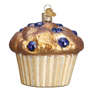 Old-World-Christmas-BLUEBERRY-MUFFIN-32263-N-Glass-Ornament-w-OWC-Box