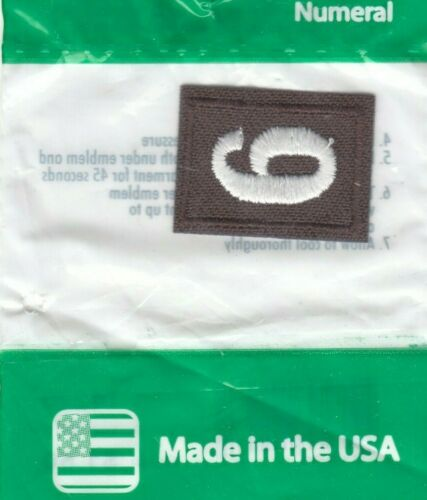 ~#6 Six~Brownie Brown Girl Scouts Troop Number Numeral Badge Patch~NEW