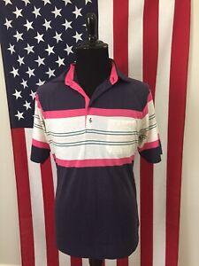 vtg-80s-Blue-Pink-Striped-mardi-gras-Polo-Shirt-men-039-s-LARGE-soft-vaporwave-8776