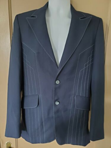 Vtg 60s 70s H BAR C Leisure Suit Jacket Western B… - image 1