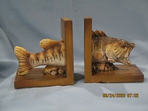 Vintage Large Mouth Bass Fish Bookends Wood Resin Man Cave Rustic Lake Ebay