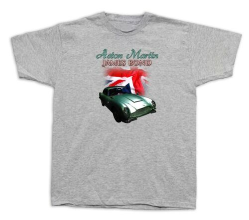 Homme Tee Shirts T-shirt 007 James Bond Aston Martin DB5 Drapeau Britannique Film Voiture