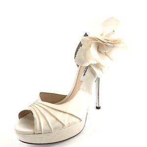 c95e5b0bbc6 Nina Ivory Satin Open Toe Heel Platform Sandals Women s Size 9.5 M ...