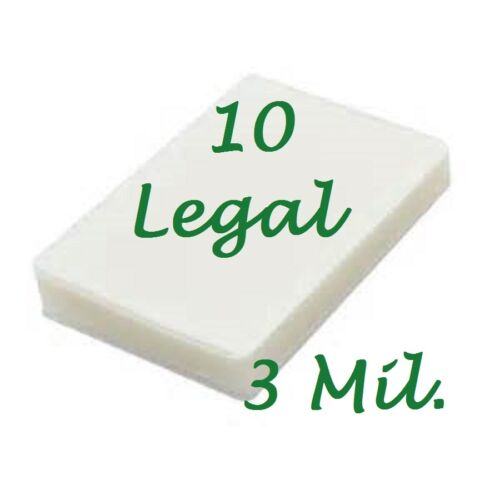 10 pk LEGAL Laminating Laminator Pouches Sheets 9 x 14.5  3 Mil Scotch Quality