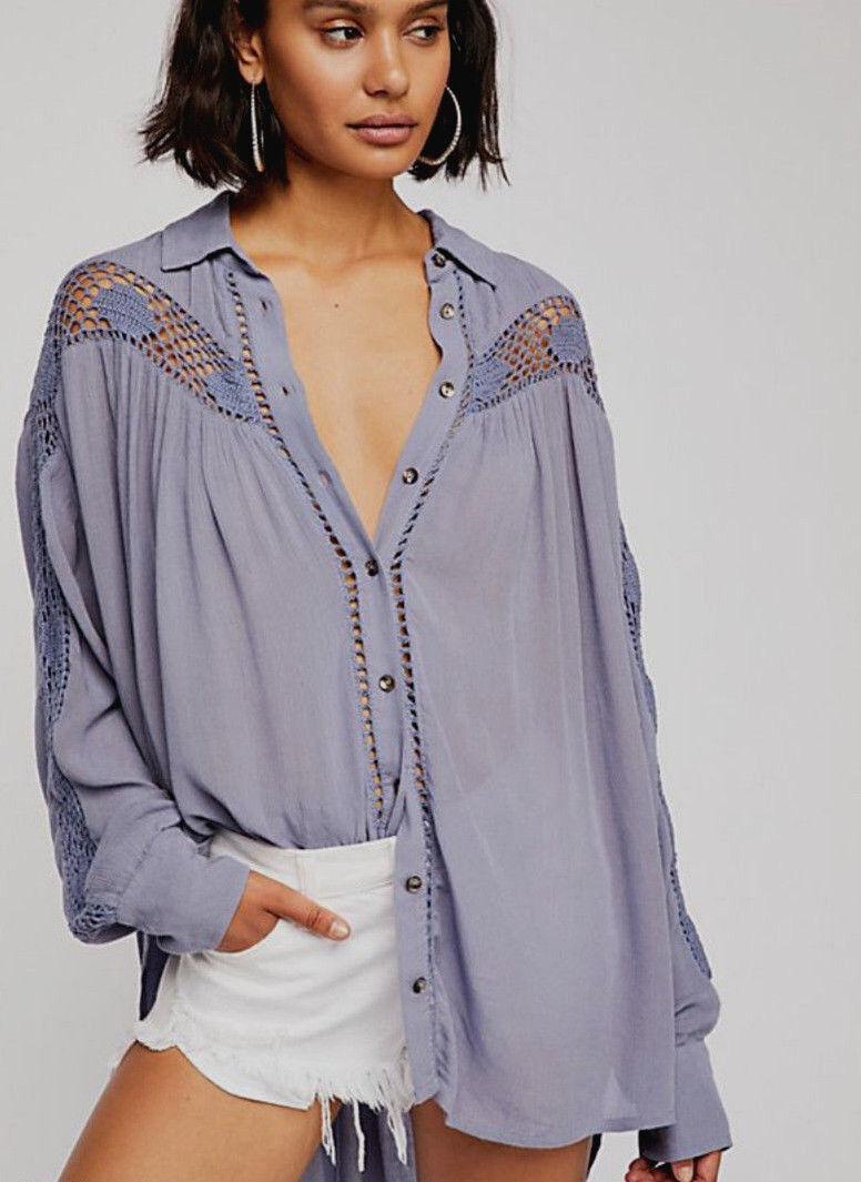Free People OB800736 Katie Bird Lace Crochet-Inset Long Sleeve Shirt Blau