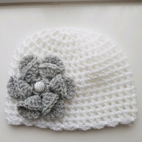 Baby Girl White and Grey Crochet Hat with a lovely large flower 3//6 mths