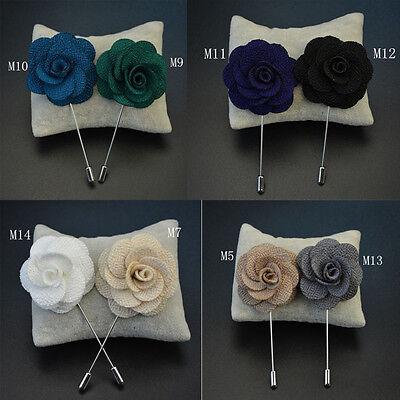 1Pcs Handmade Lapel Flower Daisy Boutonniere Brooch Pin Men's Accessories Gift